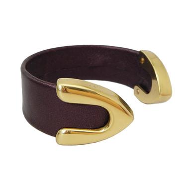 Burgundy Bordeaux leather cuff bracelet