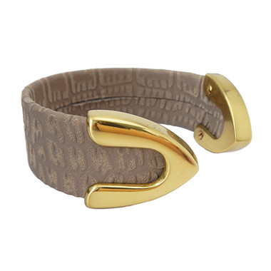 Taupe croc embossed leather cuff bracelet