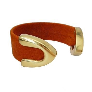 Burnt orange suede cuff bracelet