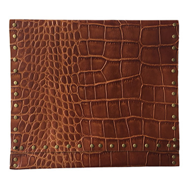 Embossed alligator brown oversize clutch