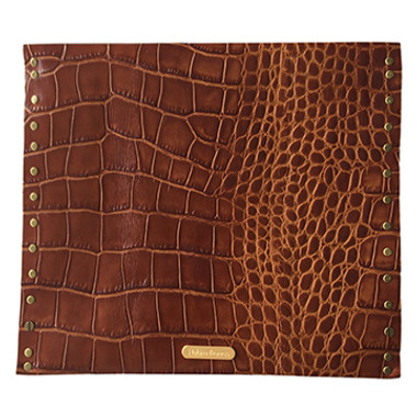 Embossed alligator oversize clutch back