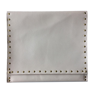Natural rawhide leather oversize clutch