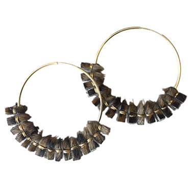 Large hair-on cowhide hoop earrings