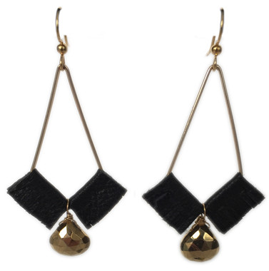 Kendall geometric earrings with black leather and gold pyrite