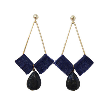 Kendall geometric earrings with royal blue leather and lapis