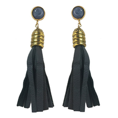 Grey leather and kyanite tassel earrings