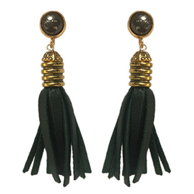 Dark green leather and pyrite tassel earrings
