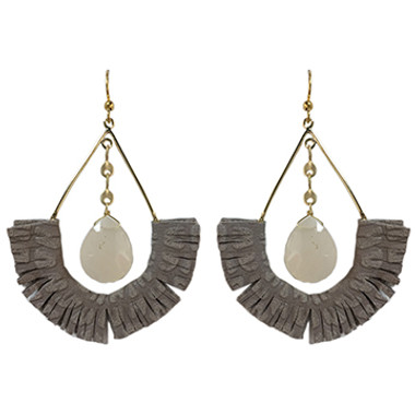 Taupe leather fringe with light peach chalcedony statement earrings