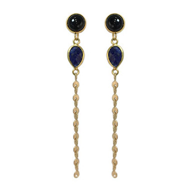 Black onyx and lapis chain earrings