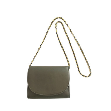 Olive green lambskin crossbody purse