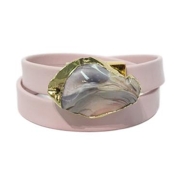 Light pink leather wrap bracelet with gold edge jasper