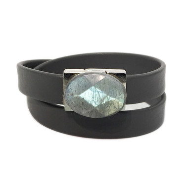 Grey leather wrap bracelet with labradorite