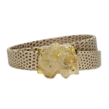 Ivory embossed lizard leather wrap bracelet with apricot quartz