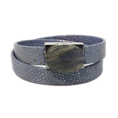 Powder blue embossed lizard leather wrap with labradorite