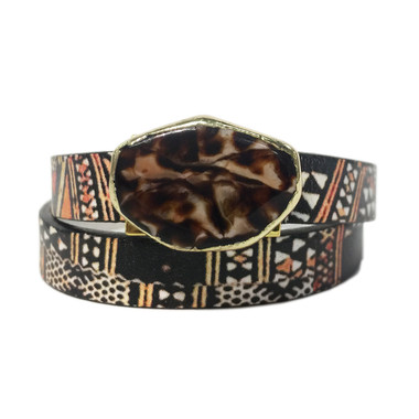 Bohemian tribal printed leather wrap with jasper