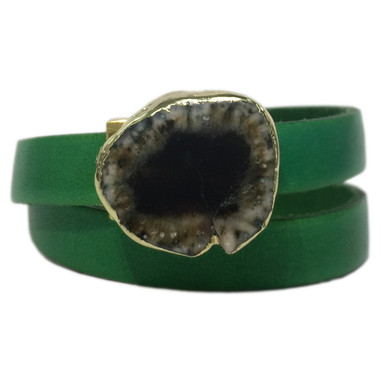 Bright green leather wrap bracelet with gold edge agate