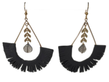 Grey leather fringe with labradorite statement earrings