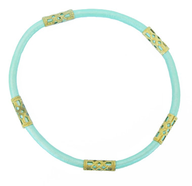Mint Green Leather Cord with 5 Bead Detail