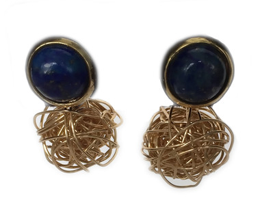 Lapis gold knot stud earrings
