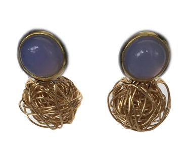Periwinkle chalcedony gold knot stud earrings
