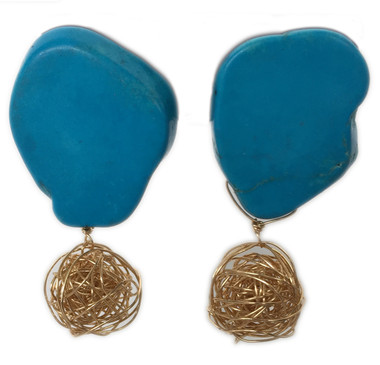 Turquoise nugget knotted gold ball statement stud earrings