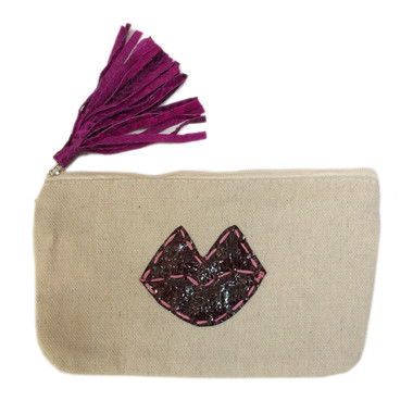 Remi Small Canvas Zip Pouch - Lips
