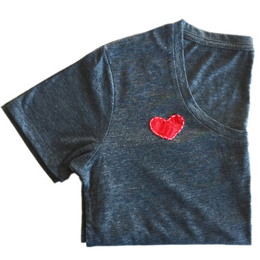 Red python heart on navy blue short sleeve tee