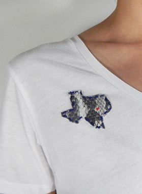 Our Heart's in Texas Scoop Neck Tee - White