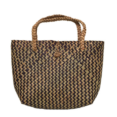 Black and natural straw open top summer tote