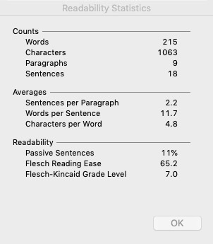 Example of readability statistics from Microsoft Word.