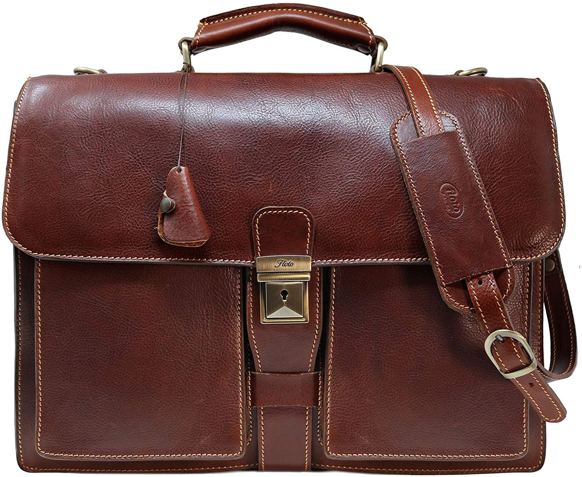 Leather Briefcase Brown Leather Briefcase Floto Novella Brief Mens Leather Briefcase Leather bag 4545 Laptop Bag
