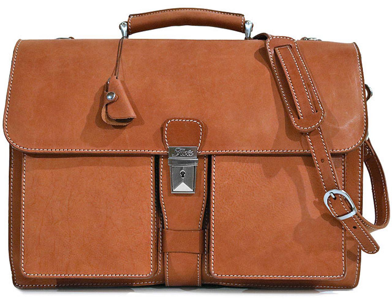Floto Mens Custom Initials Personalization Milano Briefcase Italian Calf-Skin Leather