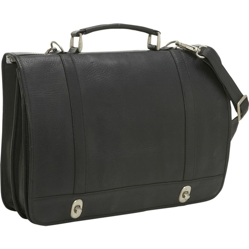 b90f8facf5ce Le Donne Distressed Leather Flap Over Computer Briefcase DS101