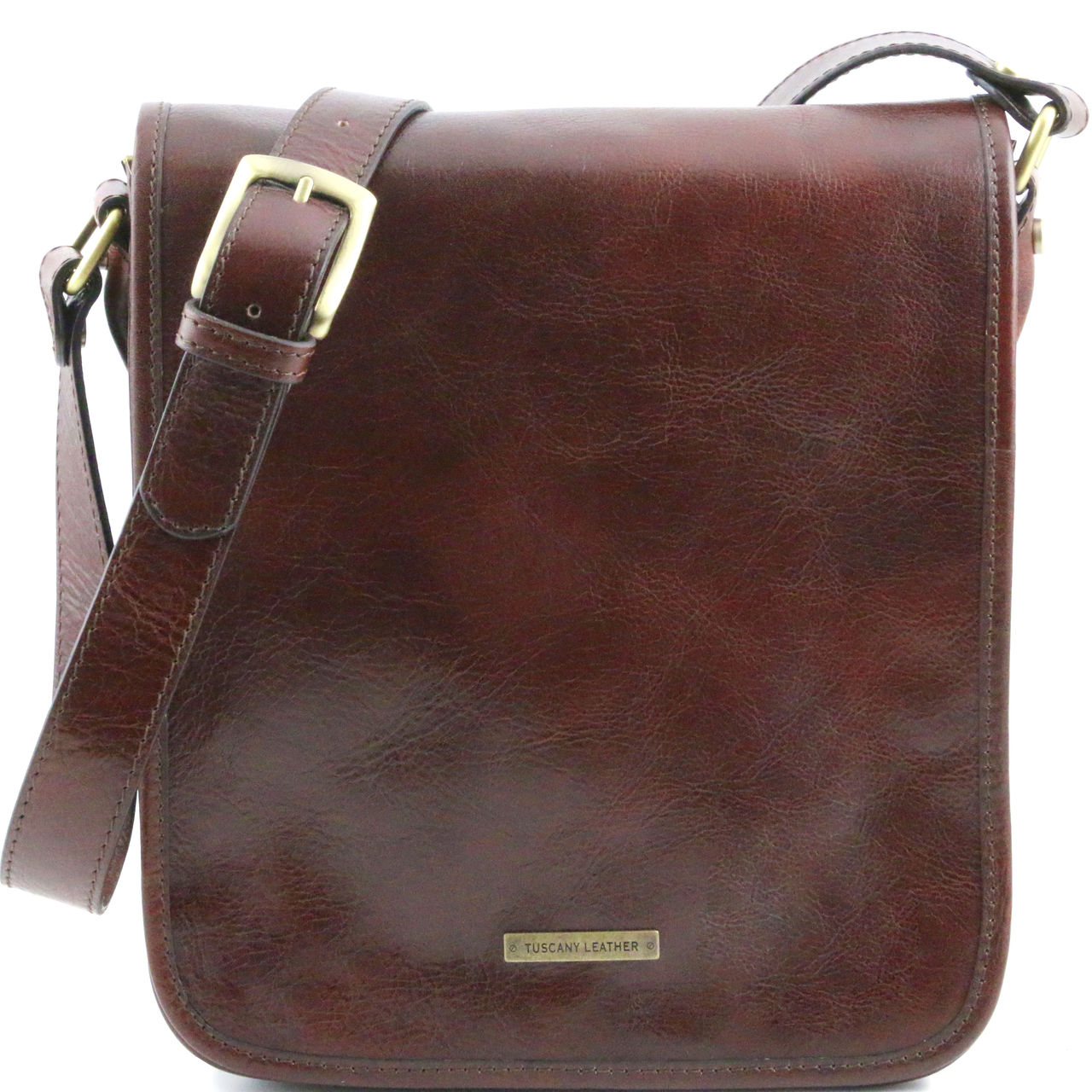ccc33d1472 Tuscany Leather TL Vertical Leather Messenger Bag (Two Compartment)