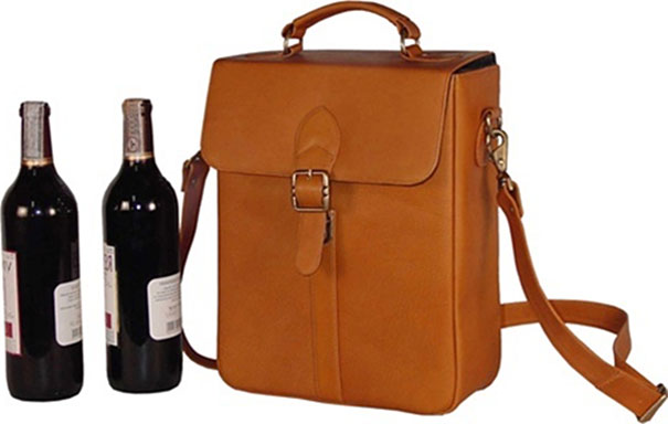 Leather Wine Carrier >> Edmond Leather Two Bottle Wine Carrier