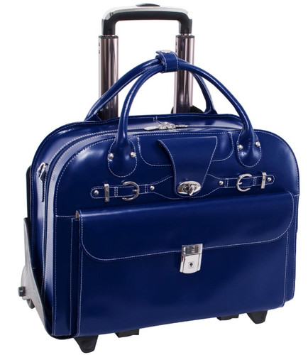 Mcklein Roseville Leather Rolling Briefcase Navy 96647 Fly