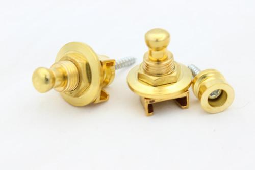 (2) Locking Guitar Strap Pin Button - Gold