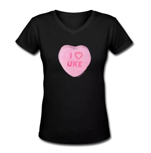 I Love Uke – Women's VNeck- Ukulele Threads Shirt