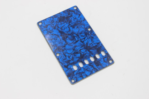 Mighty Mite Blue Pearloid Pearl 3-ply Strat Back Plate Cover - beveled edge, flush mount
