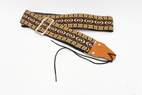 Vintage 1970s Yellow/Brown/Orange NOS Wabash Brand Guitar Strap - USA