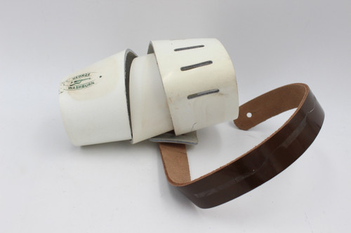 Vintage George Washburn Wide White Gloss Leather Guitar Strap NOS