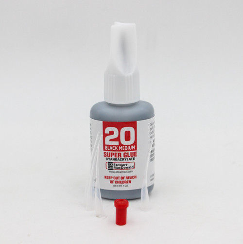 StewMac Black Tinted Luthier Super Glue, 1 oz. w/ extra nozzles