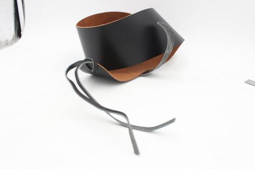 "Vintage NOS Dark Leather Wide 3.5"" Guitar Strap"