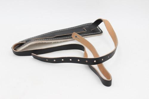 Vintage NOS Black Leather Skinny Padded Guitar Strap