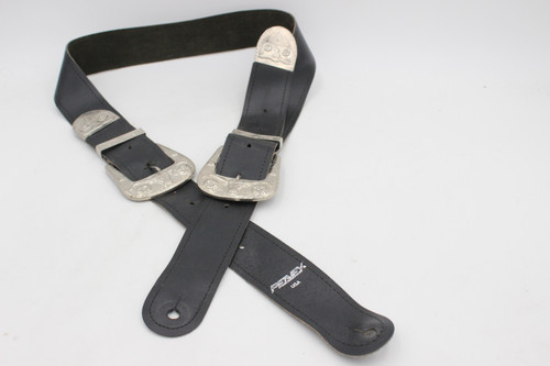 Vintage Peavey USA Black Leather & Metal Cowboy Guitar Strap