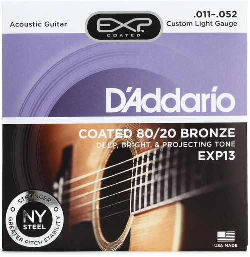 D'Addario EXP13 Coated 80/20 Bronze Acoustic Strings: 11-52 (Custom Light)