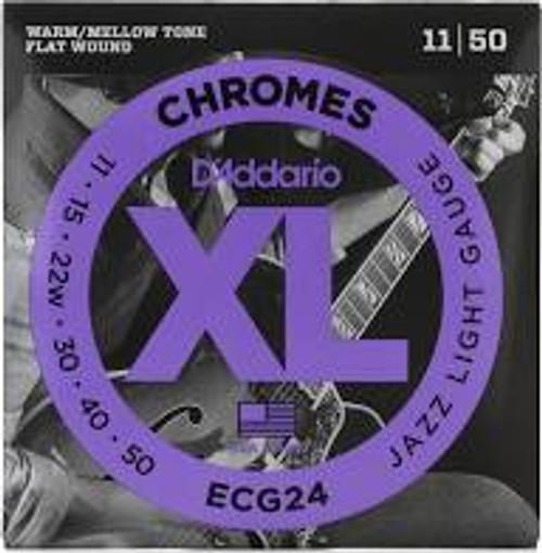 D'Addario XL Chromes ECG24 Jazz Flat Wound Guitar Strings: 11-50 (Light)
