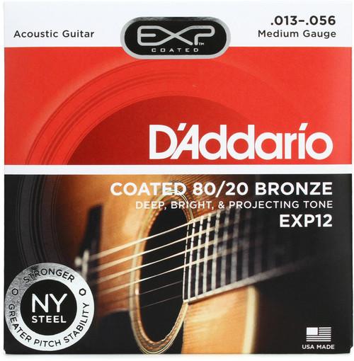 D'Addario EXP12 Coated 80/20 Bronze Acoustic Strings: 13-56 (Medium)