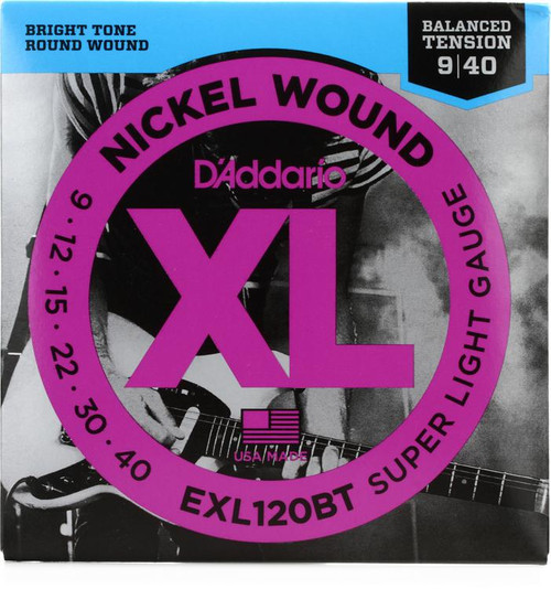 D'Addario EXL120BT Nickel Wound Electric Strings: 9-40 Balanced Tension (Super Light)