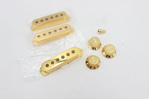 (3) Gold Strat Pickup Covers w/ (2) Tone knobs, (1) Volume, Switch Tip 48/50/52